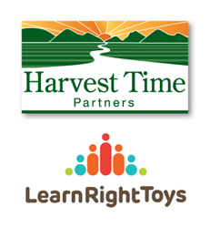 LearnRight Toys and Harvest Time Partners Logos
